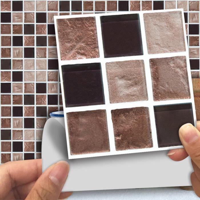 yumyumis® sticker mural multi 18pcs Carrelage mosaïque bricolage transfert  cuisine salle de bains Divers Couleurs A Multicolore