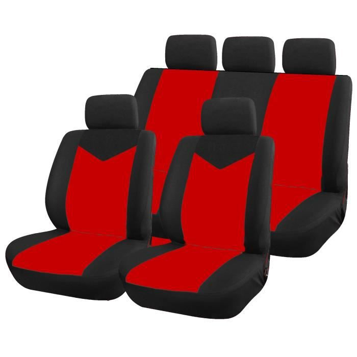 housse pour siege de voiture 9 pieces noir et rouge star compat airbags achat vente housse. Black Bedroom Furniture Sets. Home Design Ideas