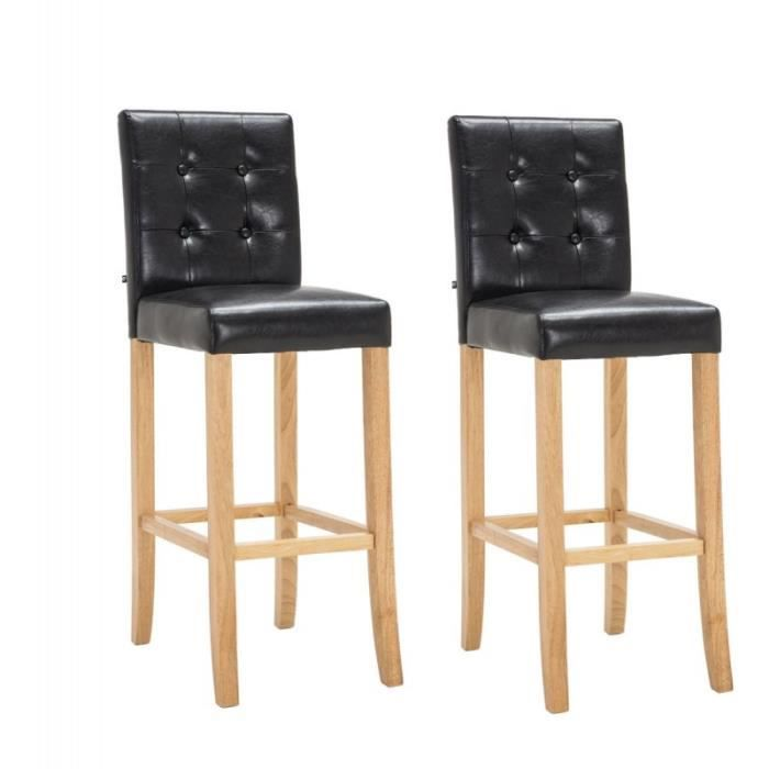 lot de 2 tabourets de bar capitonn en pu noir et bois. Black Bedroom Furniture Sets. Home Design Ideas