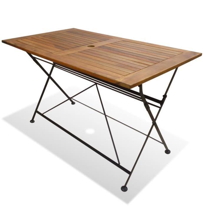 Table /à Manger Pliable Tidyard Table Rond Pliable Table Ext/érieur en Bois de Teck Massif 120 x 75 cm Table de Jardin