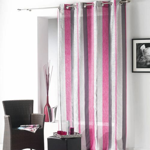 rideau gris fushia. Black Bedroom Furniture Sets. Home Design Ideas