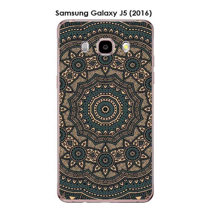 Coque Samsung Galaxy J5 (2016) design Mandala rosace bicolore Gris & Or