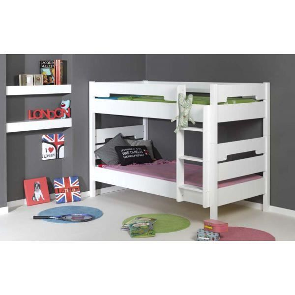 Lits superpos s milo 90x200 blanc junior provence 2017 achat vente lits s - Dimension lit superpose ...