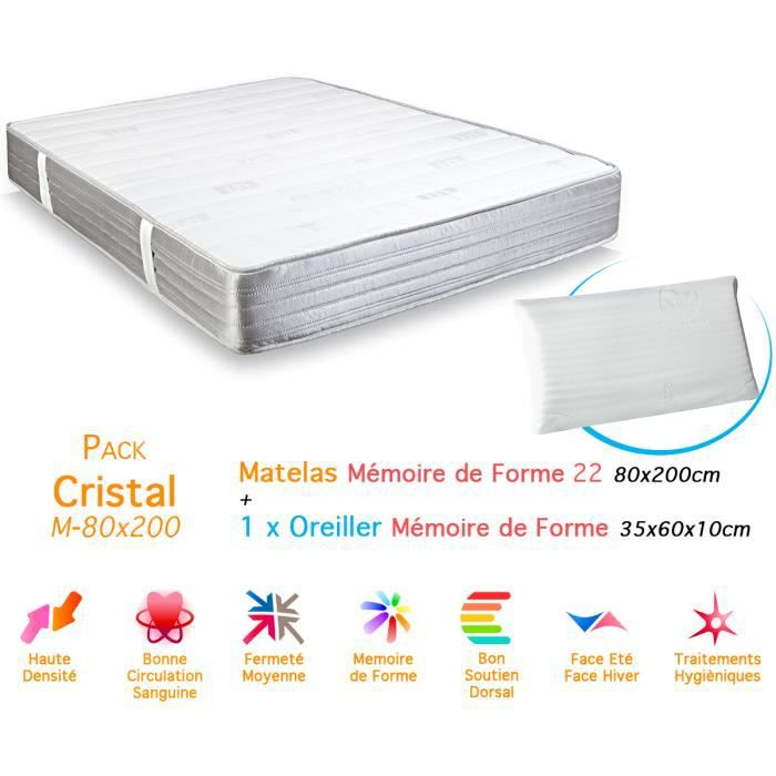 pack matelas cristal m moire de forme 22 80x200cm 1 oreiller diamant aloe vera achat vente. Black Bedroom Furniture Sets. Home Design Ideas