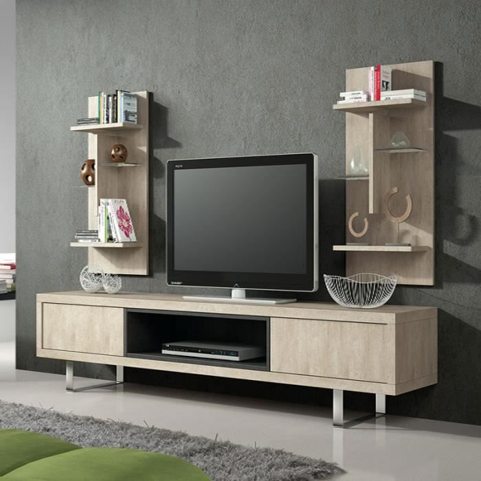 Ensemble meuble tv couleur beige contemporain risatto for Meuble tv beige