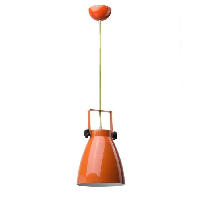 Suspension style industriel ovale m tal laqu orange brillant achat vente - Suspension type industriel ...