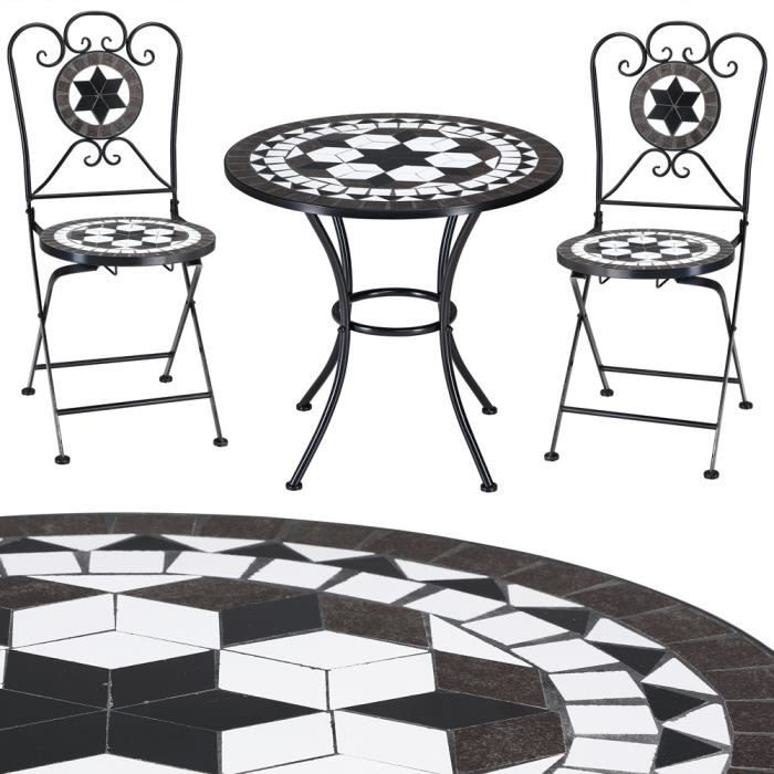 Salon de jardin mosaique oriental 1 table 2chaises achat vente salon de jardin salon de for Achat table de jardin mosaique