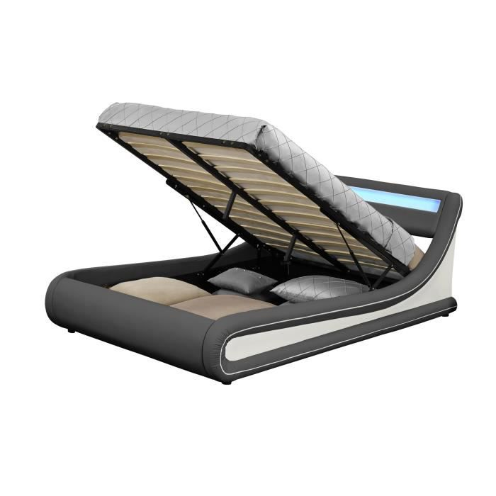 legend lit coffre gris liser blanc led 140 achat vente lit complet legend lit coffre gris. Black Bedroom Furniture Sets. Home Design Ideas