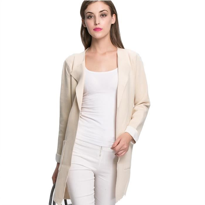 femme cardigan manches longues manteau beige beige achat vente gilet cardigan. Black Bedroom Furniture Sets. Home Design Ideas
