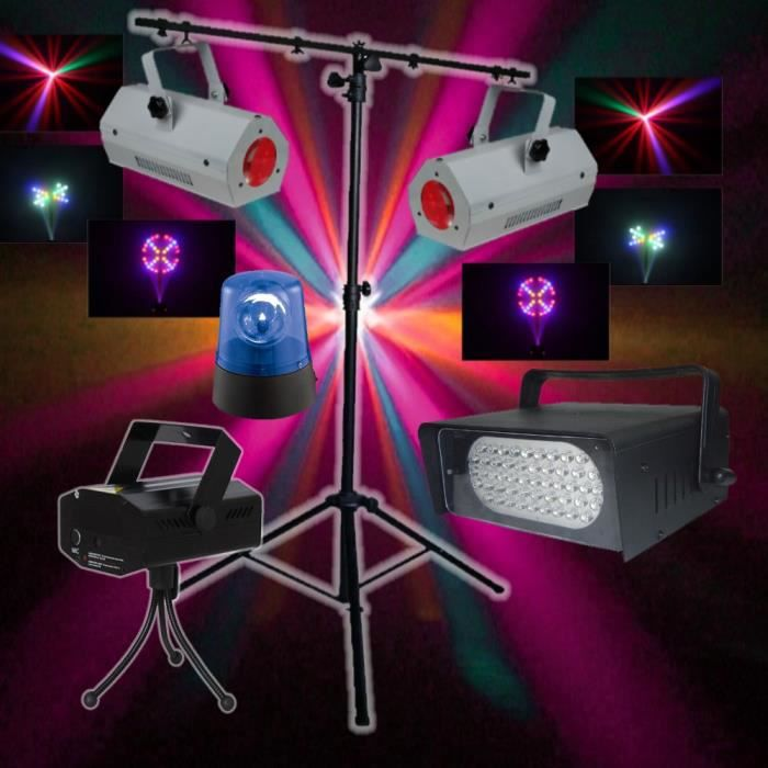 pack fiesta 4 jeux de lumiere laser led dj pieds pack. Black Bedroom Furniture Sets. Home Design Ideas