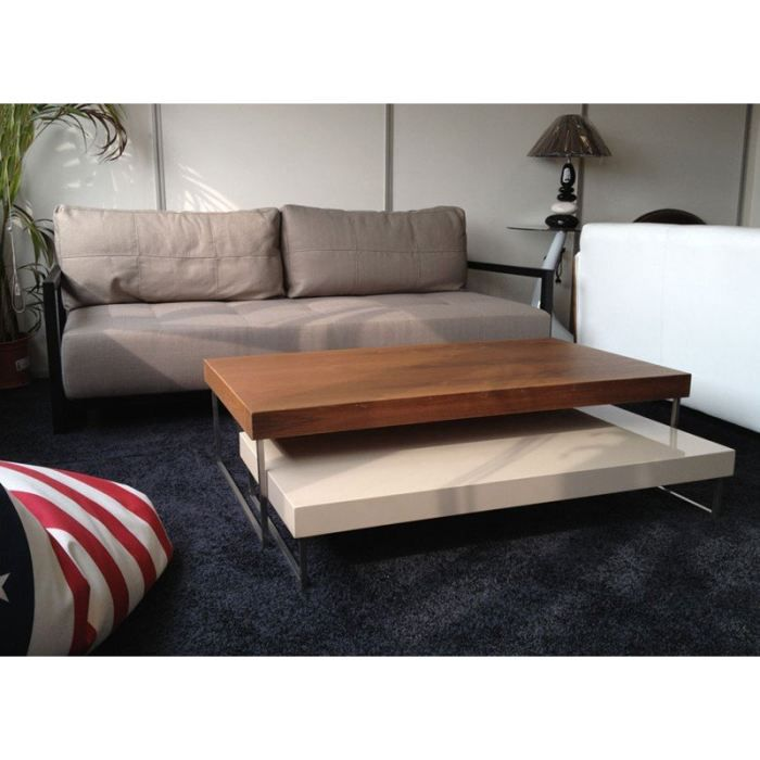 Duo table basse modulable bois laque design achat - Table basse modulable bois ...
