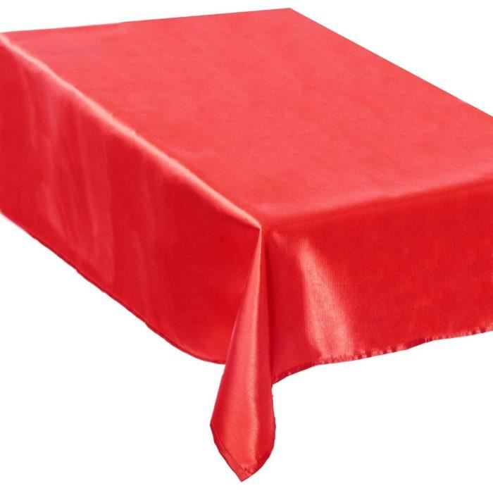 Nappe de f tes satin e rouge rectangulaire 140x360cm - Nappe de table pour noel ...