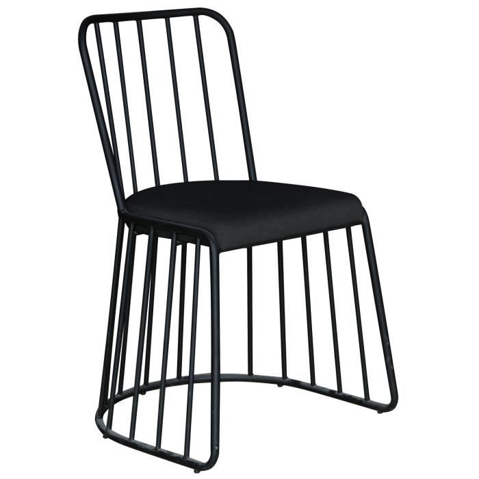 Lot De 2 Chaises Design En Metal Michigan Tissu Noir