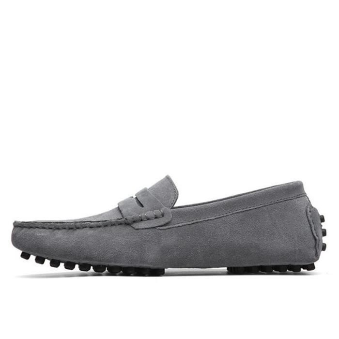 Mocassins Hommes Cuir Ultra Comfortable Appartements Chaussures FXG-XZ071Gris43