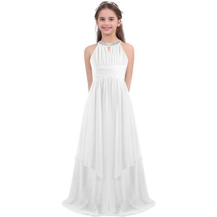 Enfant Fille Robe de Mariage Princesse Longue