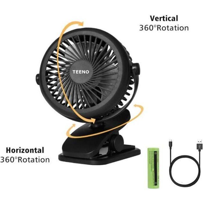 Mini Ventilateur USB Portatif Personnel Batterie Rechargeable Rotation Pince Puissant Vent Ventilateur Silencieux Refroidissement pour Camping Bureau Voyage Chambre Noir Ventilateur De Table Clip