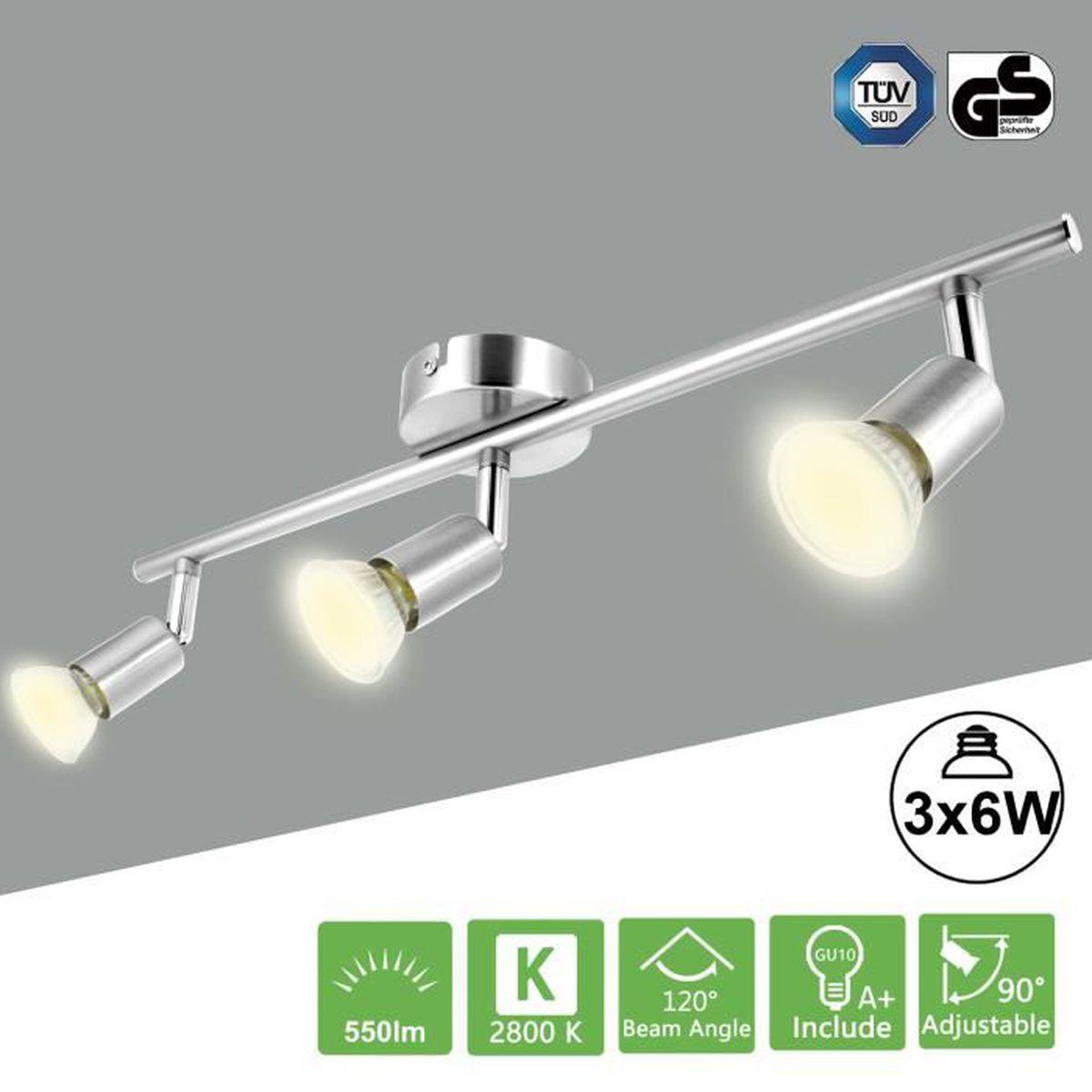 2/x GU10/Inclus m/étal 3000/K blanc chaud Plafonnier /à LED spots LED au design Movie 230/lm chrom/é
