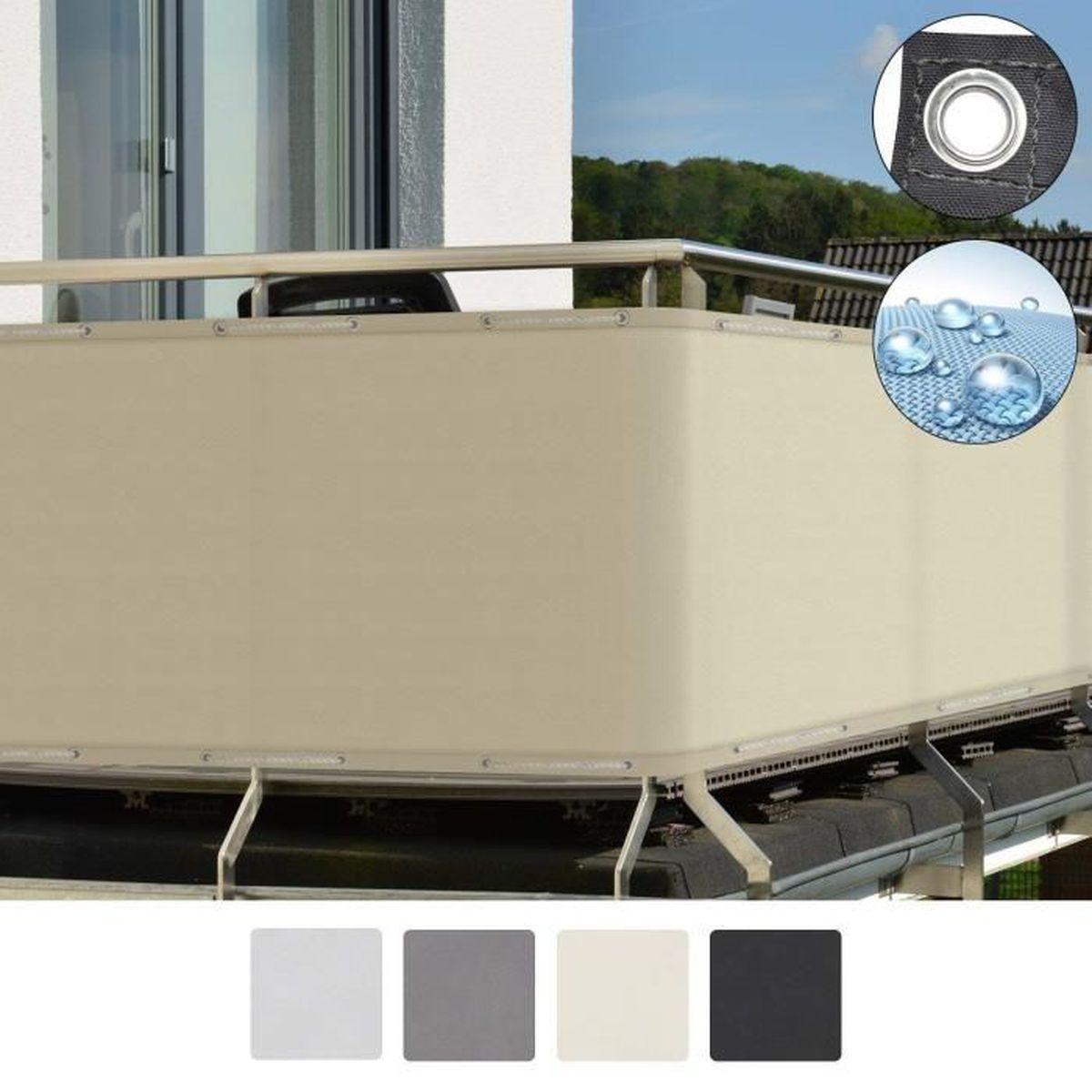 Hauteur Brise Vue Terrasse sol royal brise vue pour balcon 300x90cm creme solvision pb2