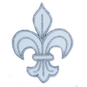 FILOUFACE Patch Ecusson Thermocollant Blason Blanc Royal Spirit Fleur de Lys 5 x 5,50 cm