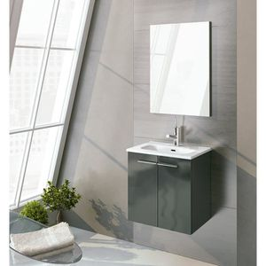 MEUBLE BAS COMMODE SDB COLLECTION ROYO STREET 50 2 PORTES ANTRACITA