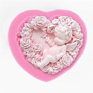 MOULE  Moule silicone coeur ange bébé fleur pour pâte à s