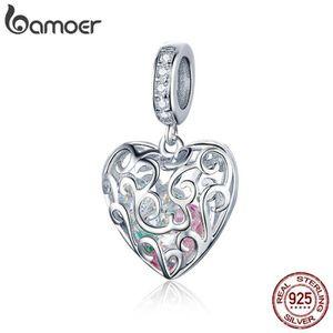 Bamoer Nouveau S925 Argent Collier Boîte Pendentif avec charmes à l/'intérieur pour les femmes Bijoux