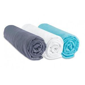 DRAP HOUSSE Lot de 3 draps housse coton 40x80/90 gris blanc tu