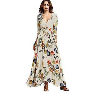 ROBE Robe Femmes Bohême Maxi Longue Floral Imprimé Col