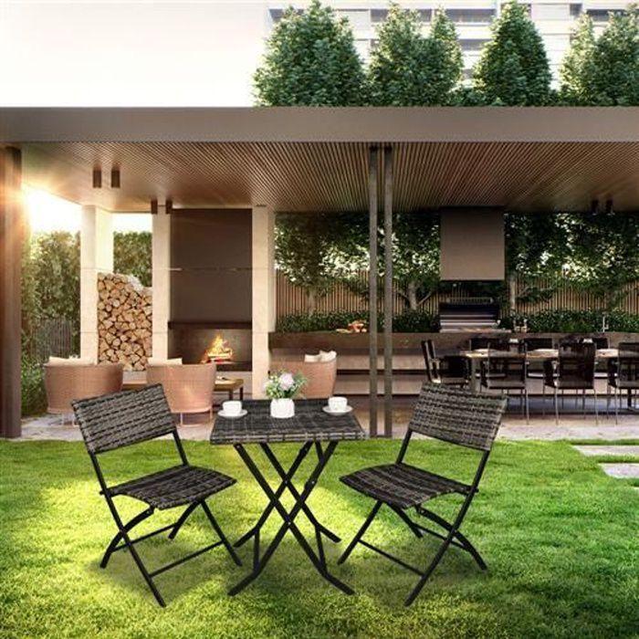 Salon de Jardin resine 2 places - table basse et 2 Chaises Pliables - Gris