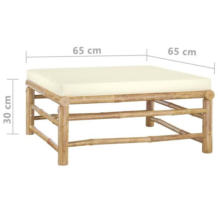 #37584 Salon de jardin 6 pcs Professionnel - Ensemble Table et Chaise de Jardin avec coussins blanc crème - Bambou Parfait