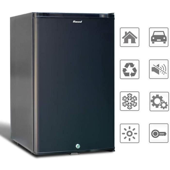 SMAD Réfrigérateur Compact 12V 220V Mini Frigo à Absorption avec Serrure à Verrou 0dB Sans Bruit Petit Frigo pour Voiture RV Camping