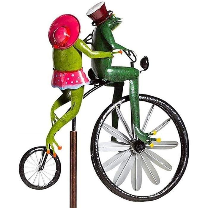Sculptures De Vent De Bicyclette Vintage en Métal Spinner, Grenouille Ornement Jardin Cour Art Pelouse, Cour Décor Moulin À Vent Pel