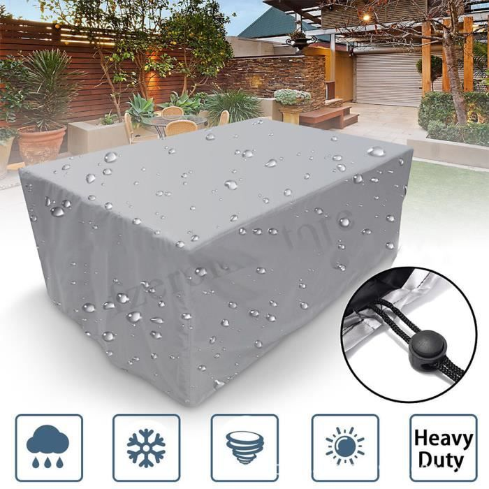 213×132×74cm Housse protection pour meuble de jardin, Housse salon de jardin rectangulaire pour chaise fauteuil table jardin Argent