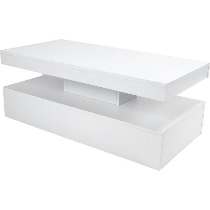 ARAMOX table basse LED Table basse à haute brillance blanche de sofa de table avec des lumières de LED pour la chambre à coucher