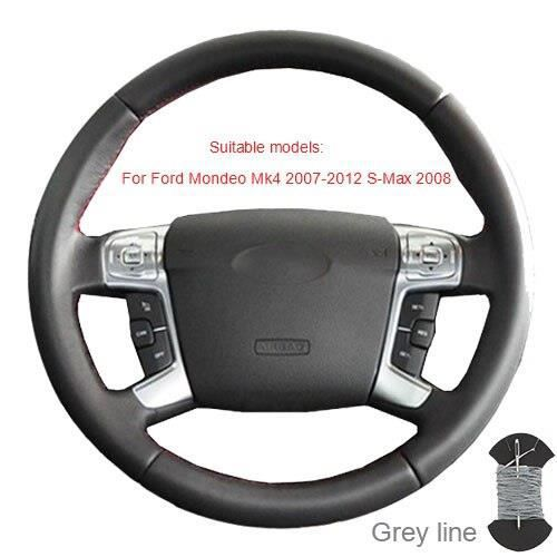 Couvre volant,Couvre volant pour Ford Mondeo Mk4 2007 2012 s max 2008 Ford Focus 3 2015 2018 Kuga 2016 - Type Grey thread #A