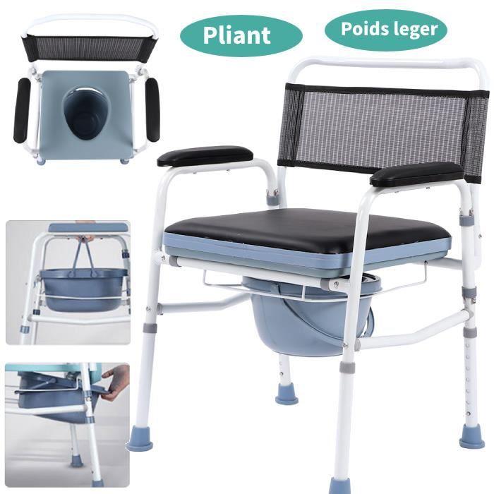 Chaise percée - Chaise toilette - Avec dossier - Acier - Commode Chaise percée pliante - Avec couvercle et pliage HB017 #122