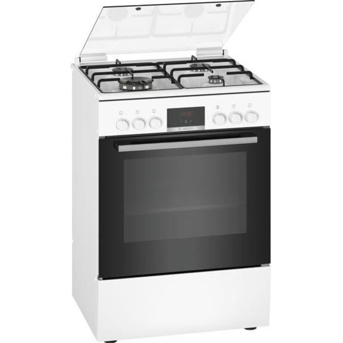 BOSCH HXR39IH20 - Cuisinière mixte - 3 foyers gaz et 1 wok - Four multifonction full ecoclean - 66 L - A - L 60 cm - Blanc