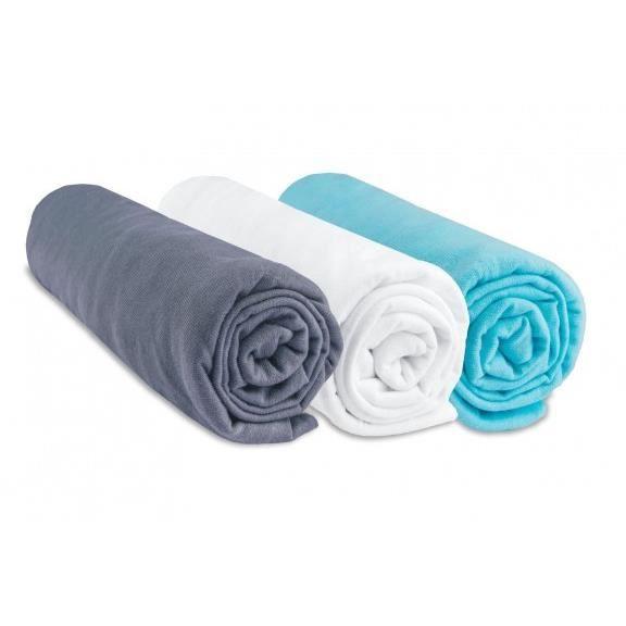 Lot de 3 draps housse coton 40x80/90 gris blanc turquoise