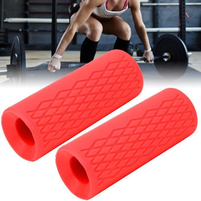 1 paire d'haltères barre d'haltères en silicone grille poignée poignées adaptateur sport équipement de protection (rouge grand)