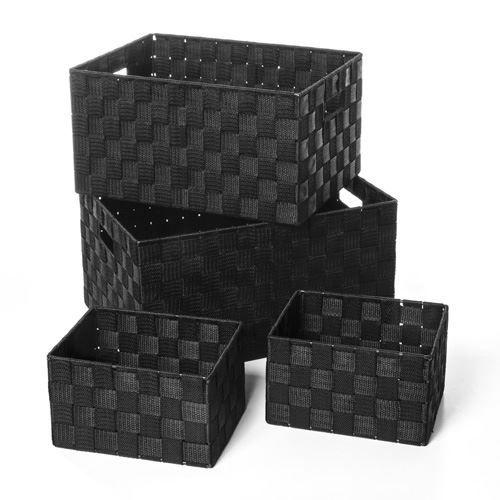 4 Paniers de rangement - Noir
