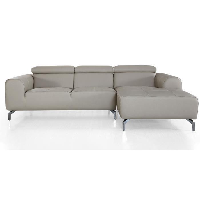 Canapé d'angle droit en cuir ZAKARIA - Beige - Droit