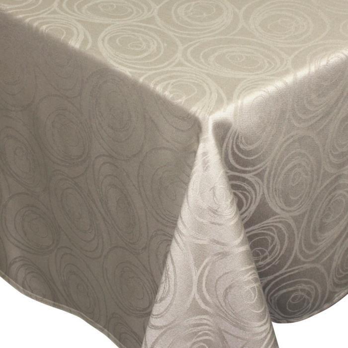 Nappe rectangle 150x350 cm Jacquard 100% coton SPIRALE taupe Autre Marron