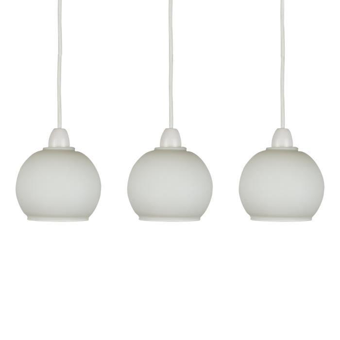 MiniSun LOT de 3 - Globes en Verre. GLOBES. Verrerie Opaline & Givré. Globes en Verre de remplacement