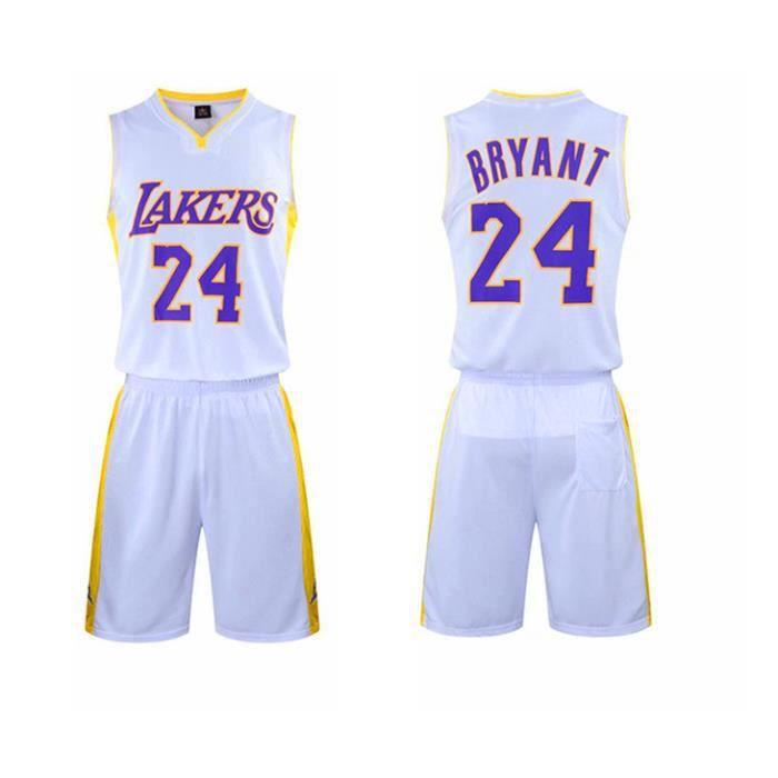 NBA Los Angeles Lakers Star Kobe Bryant Maillot et Shorts de basketball Homme - Blanc