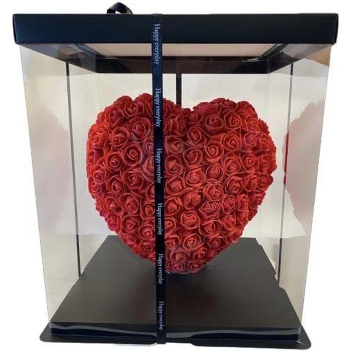 Cœur en Rose éternelle rouge, Fleur éternelle faite à la Main, Cadeau d'anniversaire, cadeau de mariage, cadeau fête des mères