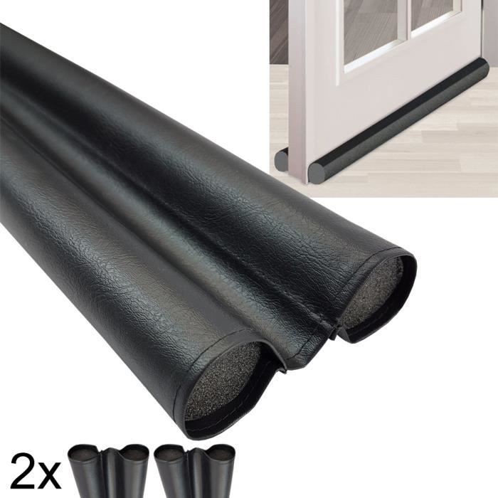 Pack x2 Boudin bas de porte double face en mousse Duo en pvc flexible 95 cm (raccourcissable) contre les courants d'air