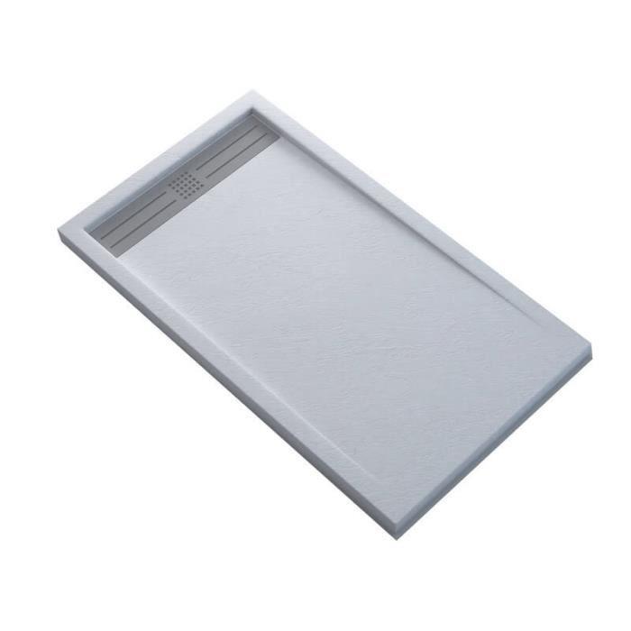 Receveur de Douche Extra Plat Rectangulaire avec Caniveau - Solid Surface Blanc - SlimLine Dimension - 100 x 80.