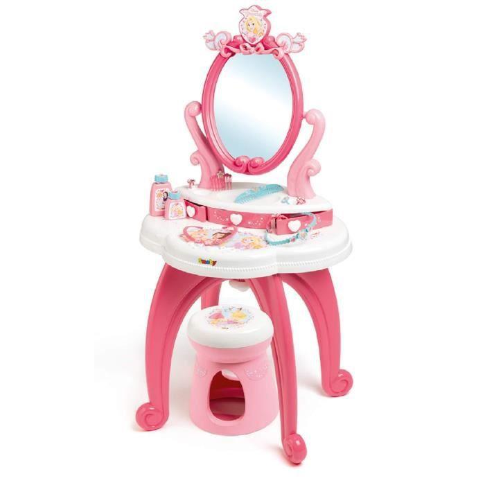 Smoby - 320222 - Princesses Disney - Coiffeuse 2 en 1 + Tabouret - 10 Accessoires