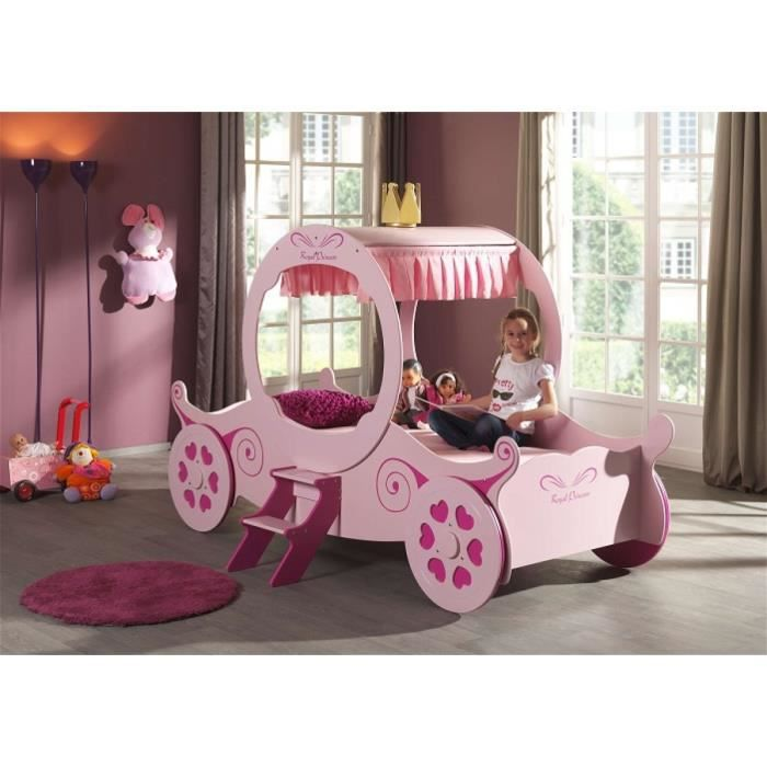 FUN Lit enfant carrosse 90x200 cm - Rose