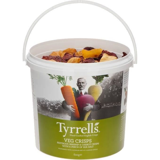 TYRRELL'S Chips de légumes Lisses Seau de Betterave, carotte, panais légèrement salées au sel de mer - 600 g